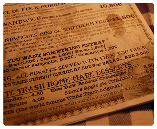 white trash menu