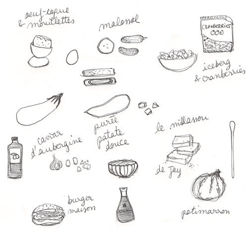 illustrations - petits plaisirs : caviard'aubergine, oeuf coque et mouillettes, burger maison, purée de patate douce, millassou au potirmarron, laitue iceberg et cranberries, cornichons malossol