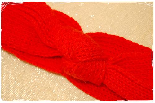 turband headband en tricot coquelicot