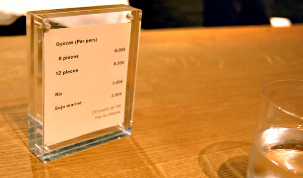 la carte du gyoza bar