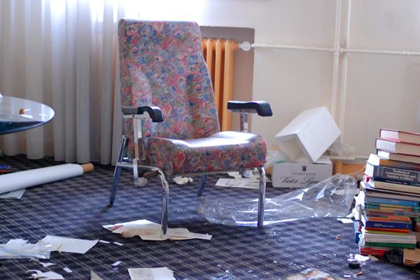 urbex fauteuil fleuri
