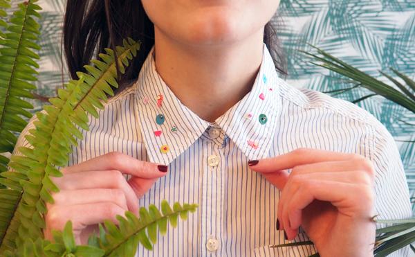 chemise col brodé