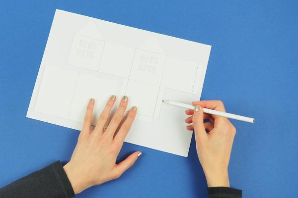 maisons en papier reporter le modèle
