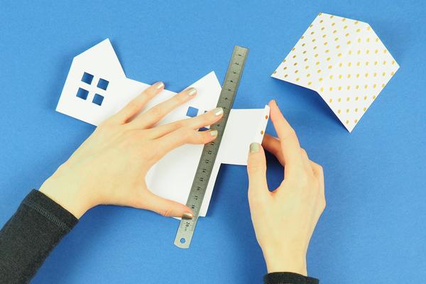 maisons en papier marquez les plis