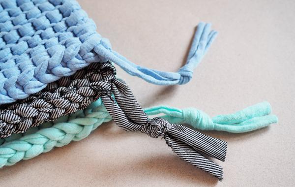 DIY tawashi en tricot trapilho